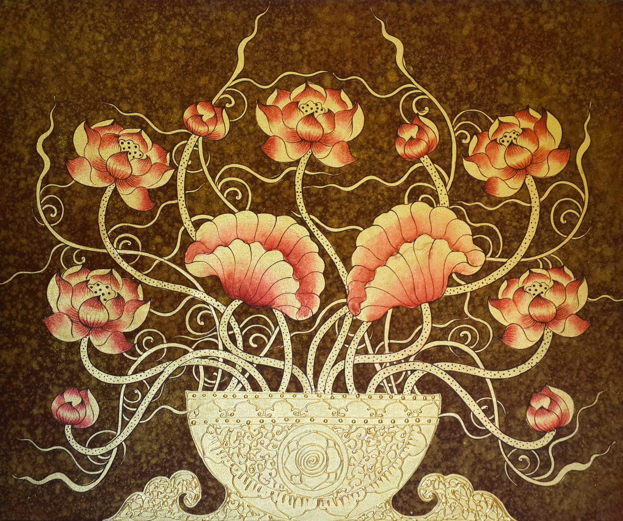 Lotus Wall Decor Exclusive Thai Paintings Designs Royal Thai Art
