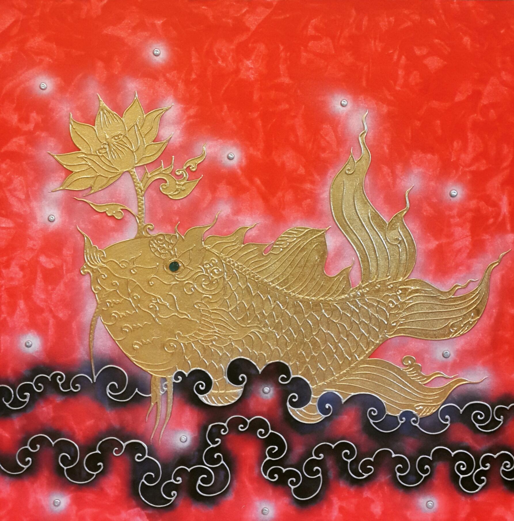 Art Animal Amazing Asian Thai Gold Fish Paintings | Royal Thai Art