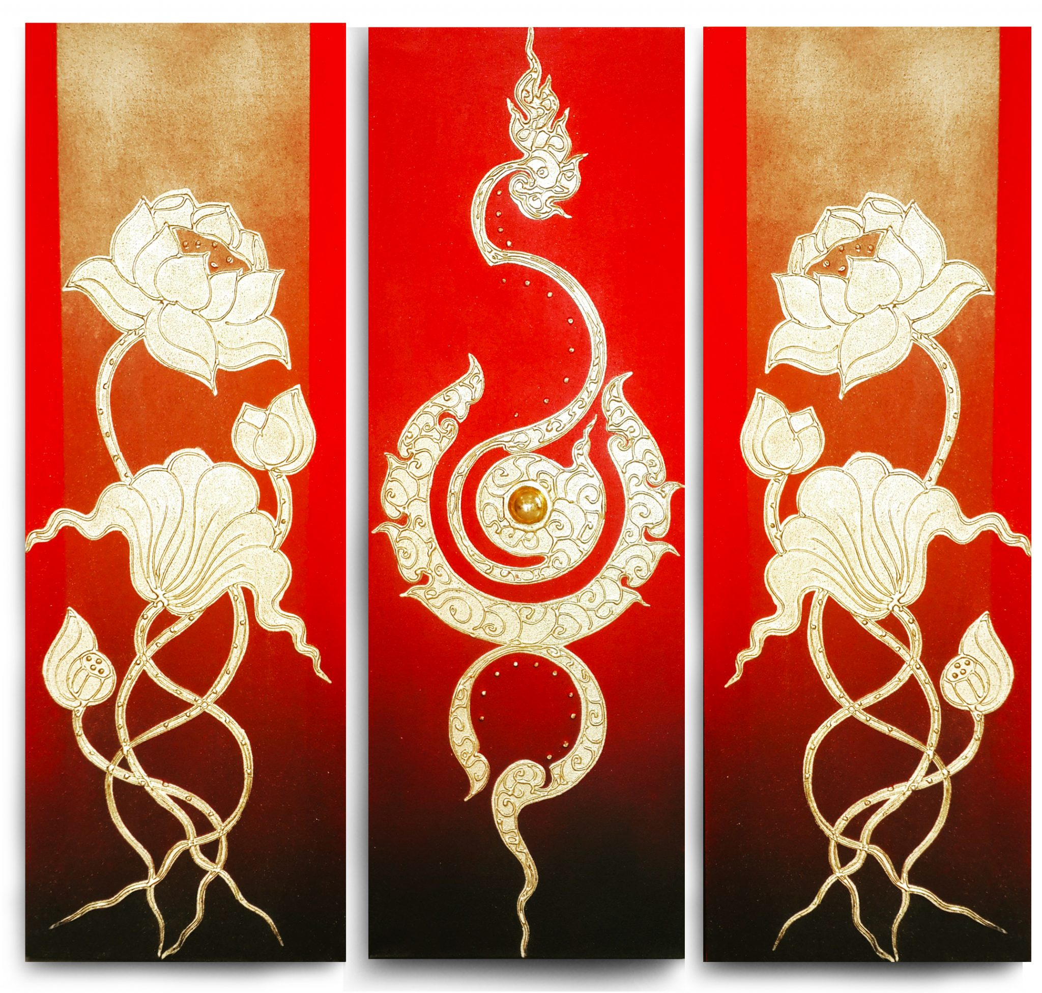 Flower Art Traditional Thai Golden Lotus Wall Art Royal Thai Art