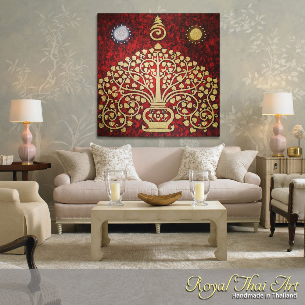 oriental décor thai art tree art oriental wall art art of asia asian inspired art southeast asian arts famous asian art oriental art Oriental Painting On Canvas Bodhi Leaves oriental paintings oriental canvas paintings traditional oriental art Oriental Art Painting Unique Art Tree Banyan Bodhi Tree Bodhi