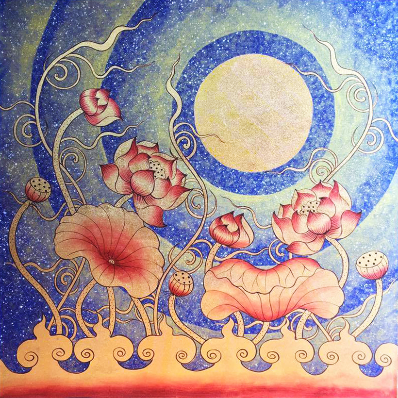 Lotus Flower Wall Art Under Thai Golden Moon Royal Thai Art