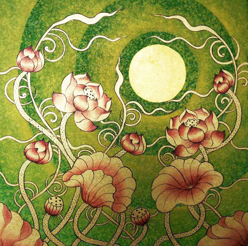 Lotus Flower Design Thai Golden Moon Royal Thai Art
