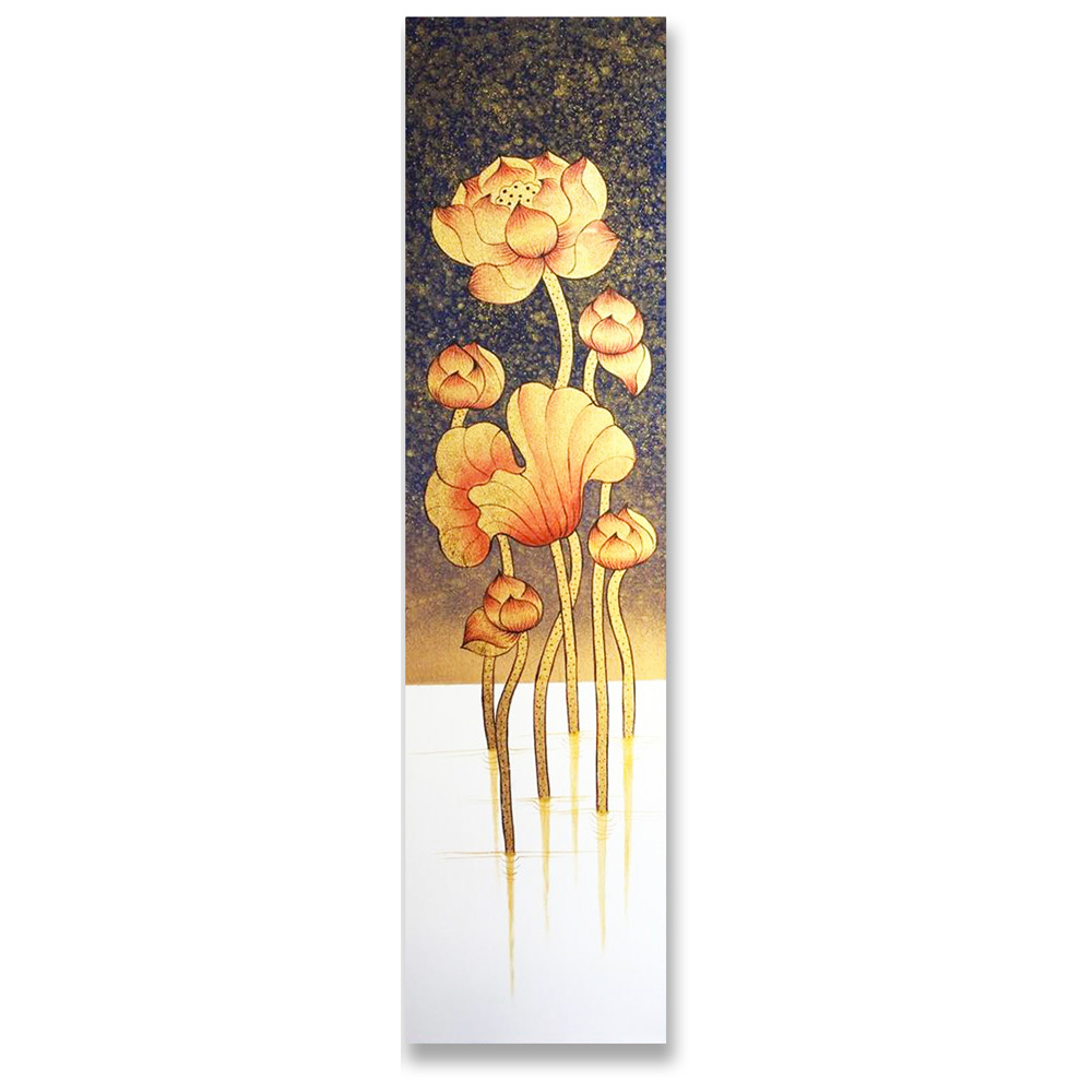 Lotus Art Evening Blossom Handmade With Acrylic Paint Royal Thai Art