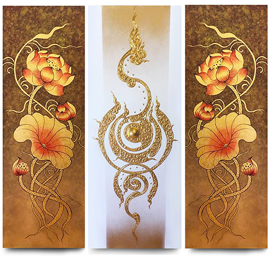 Lotus Flower Abstract Art Traditional Thai Painting ...
