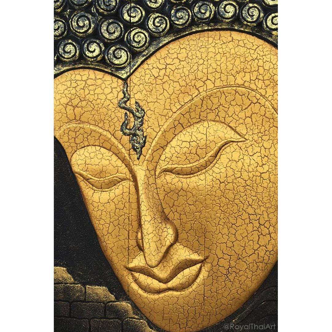 Wooden Buddha Face Wall Art