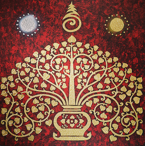 tree art tree painting tree wall art tree of life wall art bodhi tree painting buddha tree painting thai art gold leaf art gold leaf artwork