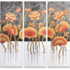 flower painting floral art acrylic flower painting thai art gold leaf art gold leaf artwork 3 piece wall art multi piece wall art 3 piece canvas art