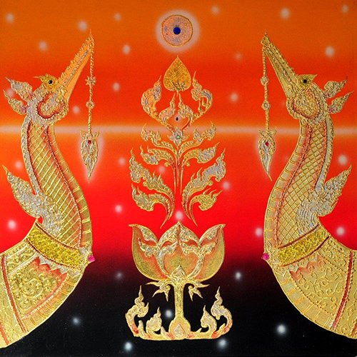 famous animal painting suphannahong thai art thai painting thai artwork thai wall art traditional thai art gold leaf paint gold leaf wall art
