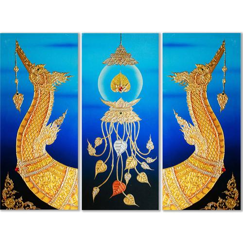 supannahong painting animal artwork animal paintings animal wall art thai art gold leaf art gold leaf artwork 3 piece wall art multi piece wall art 3 piece canvas art