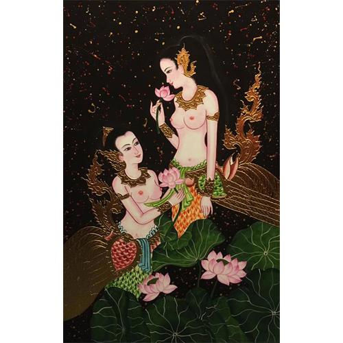 golden lady painting thai painting thai artwork thai wall art traditional thai paintings thai art for sale thai art painting thai artist painting thai artists paintings