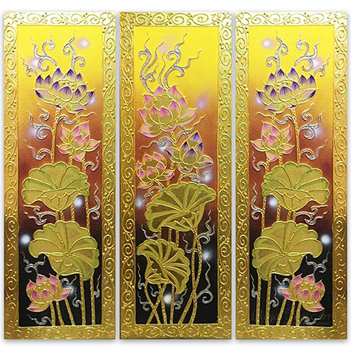 lotus flower painting lotus flower wall art lotus artwork chinese lotus painting lotus flower canvas wall art 3 piece wall art multi piece wall art 3 piece canvas art