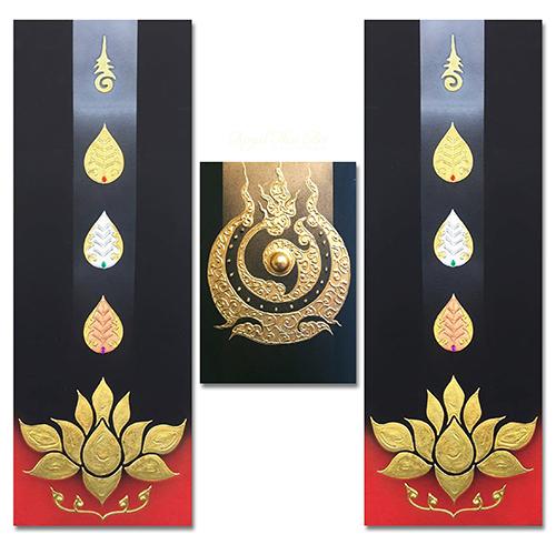 lotus leaf painting bodhi leaf himapan lotus leaf painting traditional thai art traditional thai paintings gold leaf art gold leaf artwork