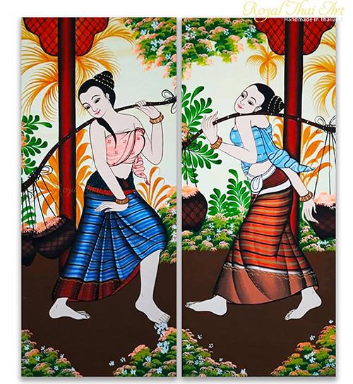 women art thai life painting feminist art woman painting famous paintings of women folk art folk art painting thai art thai painting thai artwork traditional thai painting