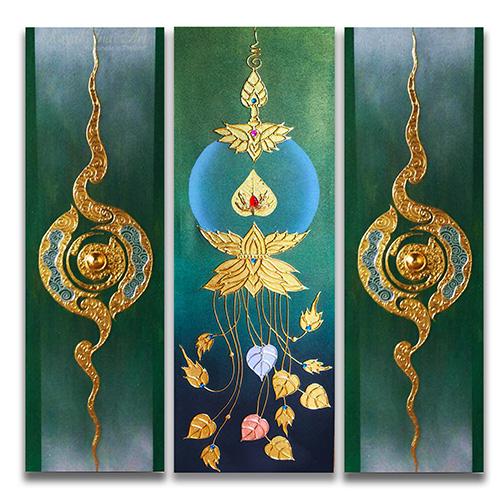 thai pattern thai art pattern traditional thai pattern 3 piece wall art gold leaf paint gold leaf wall art gold leaf artwork