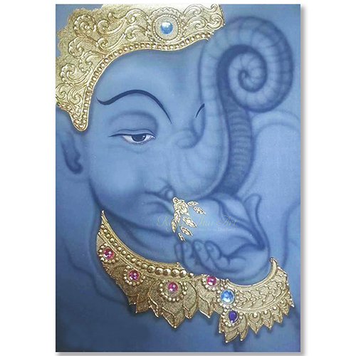 ganesha art painting lord ganesha painting ganesha artwork ganesha acrylic painting on canvas ganesh canvas wall art thai art gold leaf art gold leaf artwork