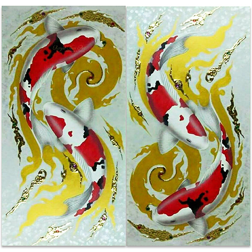 koi painting koi fish painting koi fish acrylic painting koi artwork koi fish wall art koi fish paintings on canvas 2 piece canvas wall art thai art thai painting
