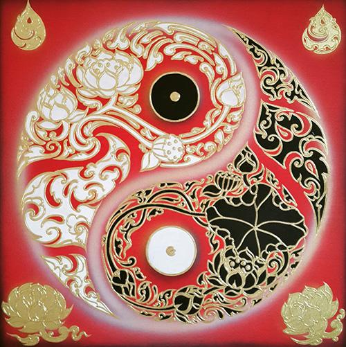 yin yang art original abstract painting yin yang painting yin yang wall art yin yang artwork yin yang wall decor yin yang abstract art thai art thai painting thai artwork traditional thai painting
