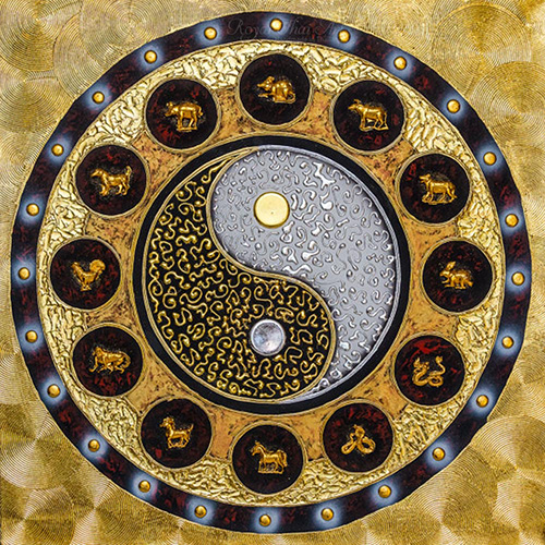 Yin Yang Symbol Zodiac Mandala Abstract Painting L Royal Thai Art