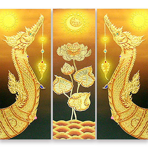 thai royal barge suphannahong thai art thai painting thai artwork traditional thai painting gold leaf paint gold leaf wall art gold leaf artwork