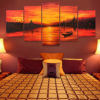 chao phraya river sunset painting sunset acrylic painting sunset canvas painting menam chao phraya