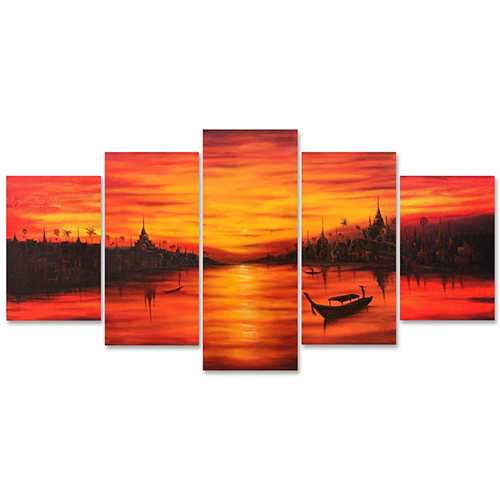 chao phraya river sunset painting sunset acrylic painting sunset canvas painting menam chao phraya thai art thai painting thai artwork traditional thai painting multi panel painting multi panel canvas wall art