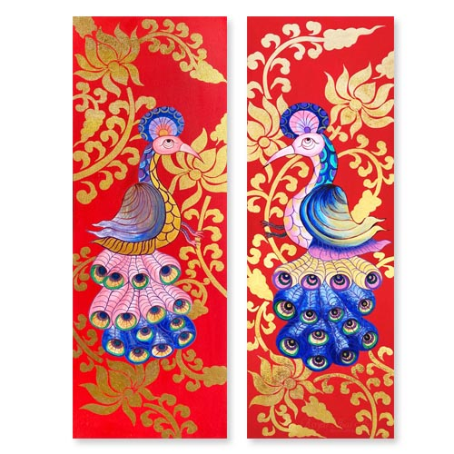 peacock painting peacock wall art peacock artwork peacock canvas painting peacock acrylic painting 2 piece canvas wall art gold leaf paint gold leaf wall art gold leaf artwork
