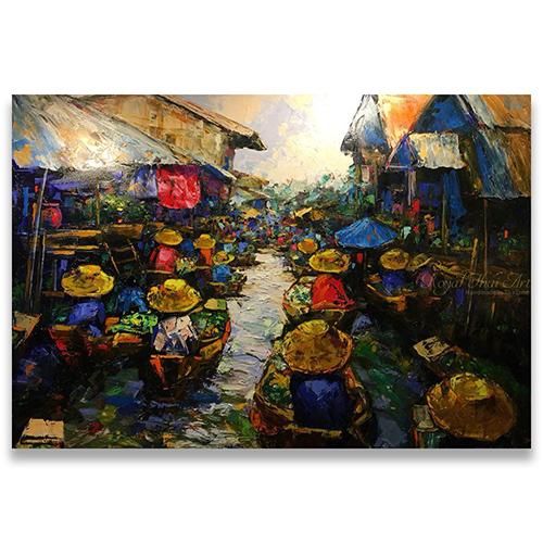 thai floating market thai river market thai boat market oil paintings for sale original oil paintings for sale framed oil paintings for sale large oil paintings for sale