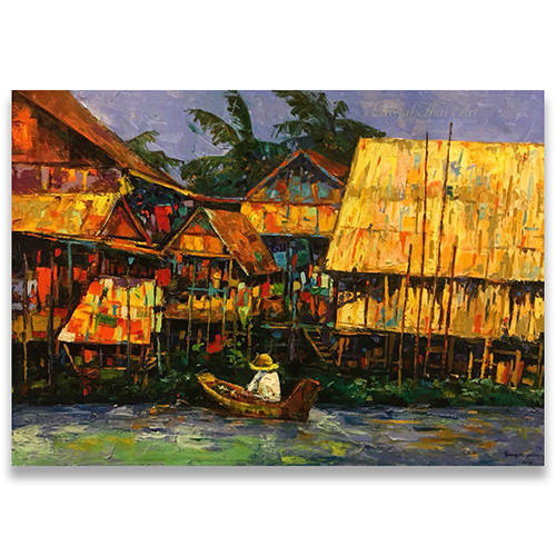 Thai canal life oil painting thai art thai painters thai painting thai artwork thai modern art famous artists in Thailand thai arts crafts Asian painting