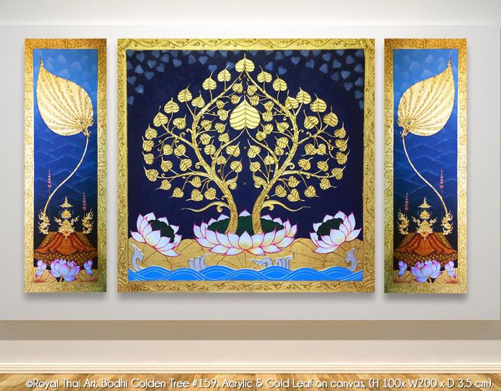 Asian Art Buddha Bodhi Golden Tree