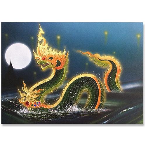 naga painting nagas wall art naga dragon canvas painting thai art thai painting thai artwork traditional thai painting