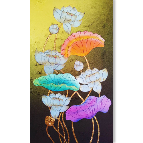 water lily painting lotus flower painting lotus leaf painting lotus acrylic painting lotus acrylic painting lotus canvas painting gold leaf paint gold leaf wall art gold leaf artwork