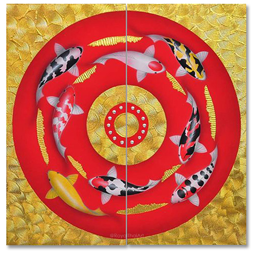 carp painting koi carp painting japanese carp painting carp fish painting japanese koi carp paintings carp artwork 2 piece canvas wall art