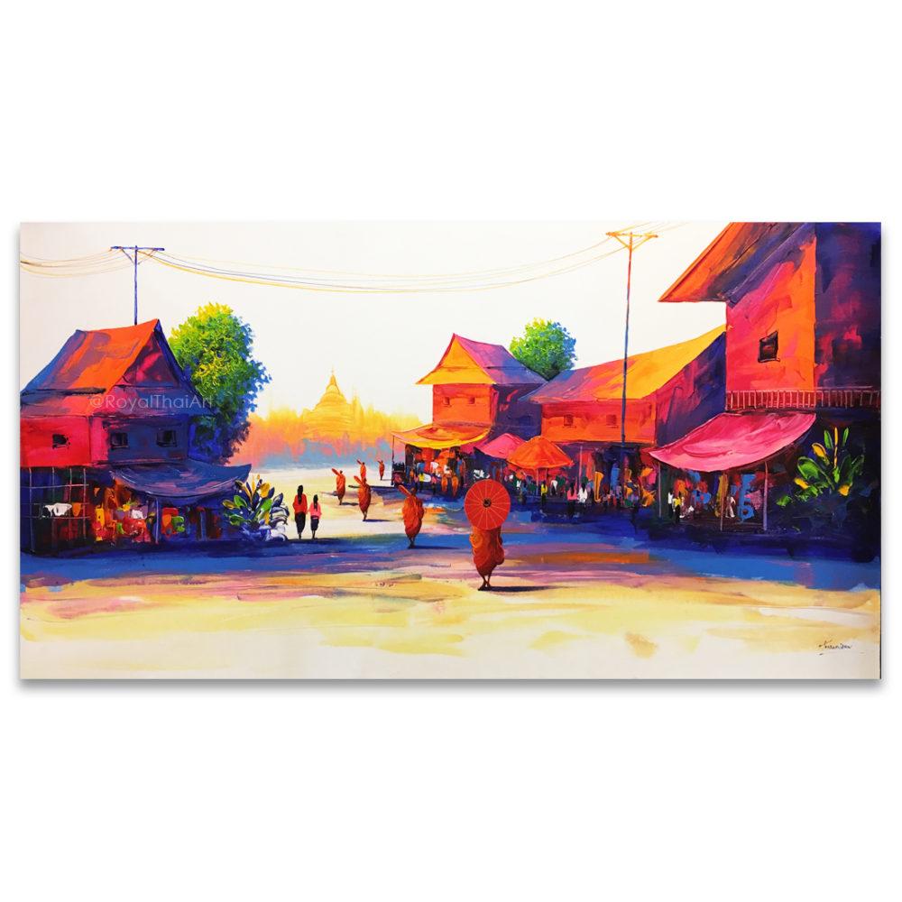 morning Thai village thai art national gallery Thailand thai modern art thai arts and crafts thai art for sale thai décor traditional thai art thai wall art thailand wall art