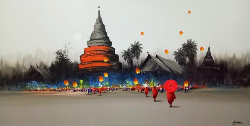 floating lantern painting
