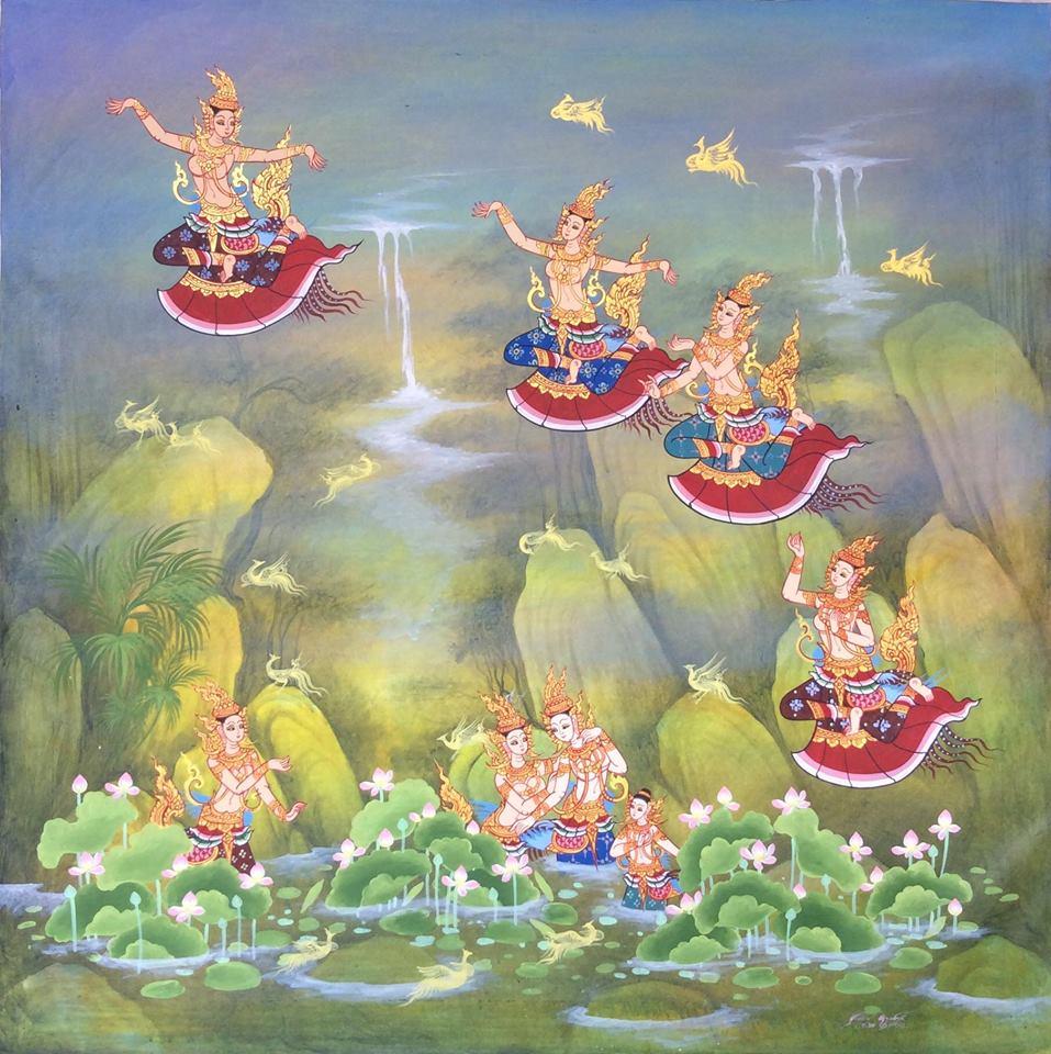 Kinnara Thai wall art kinnaree mythical creatures art from Thailand oriental decor buy paintings online cheap wall paintings online oriental paintings Asian paintings