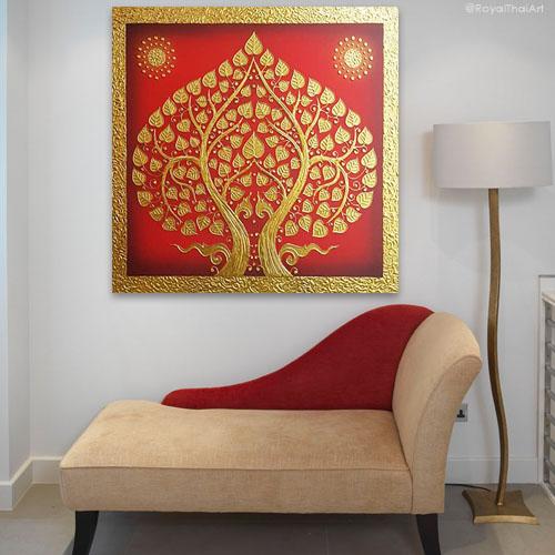 Bodhi tree bodhi leaf tree art tree wall painting Asian artwork Asian wall art oriental style southeast Asian arts