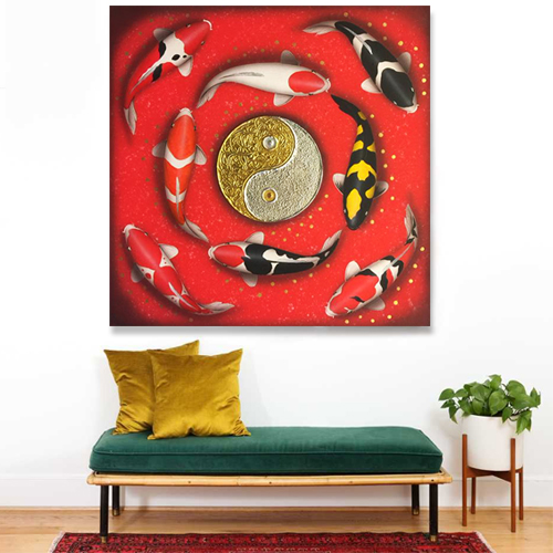 Beautiful Koi Fish Feng Shui Paintings, Feng Shui Painting For Living Room