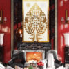 Buddha bodhi enlightenment tree buddha fig tree banyan buddha tree gold tree painting bodhi tree wall art