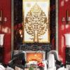Buddha bodhi enlightenment tree buddha fig tree banyan buddha tree gold tree painting bodhi tree wall art
