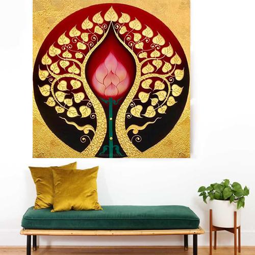 Bodhi tree art wall painting buddha tree acrylic painting abstract tree painting buddha bodhi tree images asian paintings thai art oriental paintings art Thailand