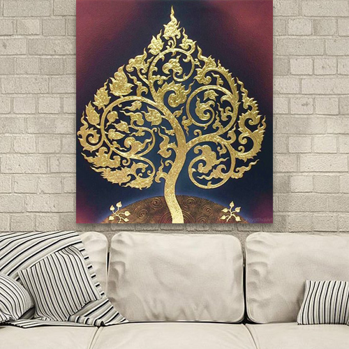 oriental decor thai decor thai painting thai paintings Thailand painting famous asian art Buddha bodhi enlightenment tree buddha fig tree banyan buddha tree gold tree painting