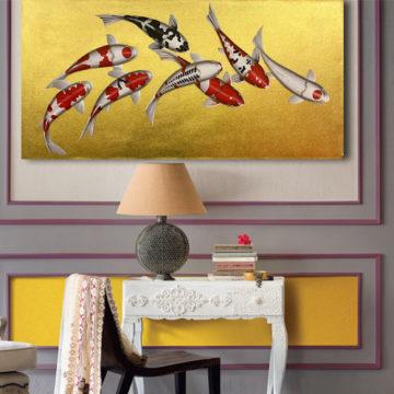 Japanese lamp Koi japanese fish Koi art Koi lamp Koi fish painting