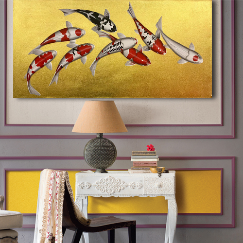 fish painting japanese koi koi carp fish koi picture wall painting canvas painting asian paintings thai art
