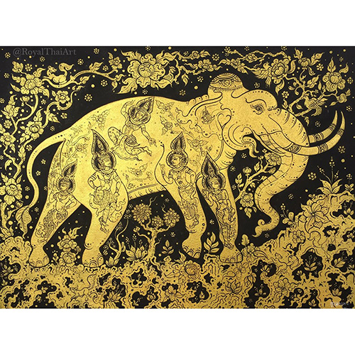 abstract elephant art abstract elephant painting gold elephant painting gold elephant art elephant painting acrylic suda elephant painting for sale thai art thai pattern gold leaf paint gold leaf wall art