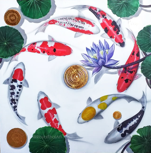 Koi fish paintings on canvas koi fish painting feng shui koi fish oil painting koi fish art japanese koi art acrylic koi fish painting koi fish wall art good luck money fish koi fish painting