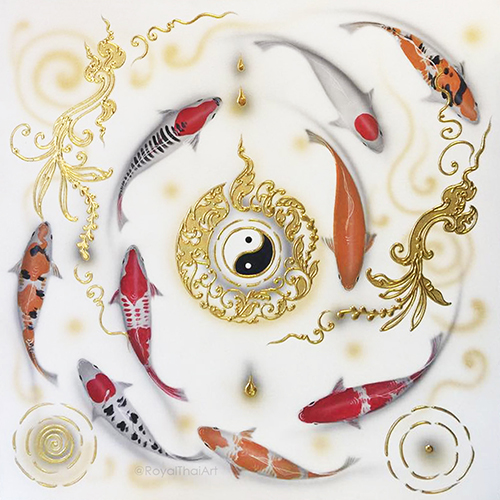 Yin Yang 9 Japanese Fish Art