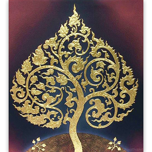 buddha fig tree painting bodhi tree painting buddha tree painting bodhi tree art bodhi tree wall art most popular painting in thailand thai art asian art gold leaf wall art