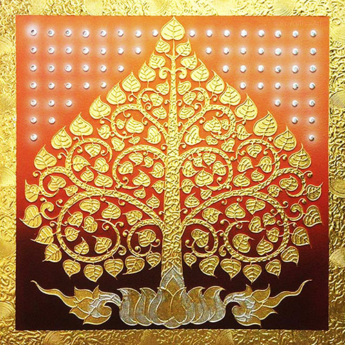Bodhi tree bodhi leaf tree art tree wall painting buddha tree acrylic tree painting buddha bodhi tree Asian artwork Asian wall art oriental style southeast Asian arts