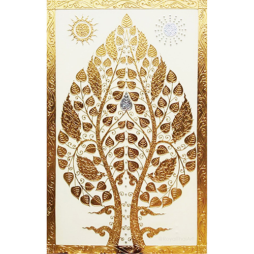 buddha enlightenment tree painting bodhi tree painting buddha tree painting bodhi tree art bodhi tree wall art thai art asian art gold leaf wall art