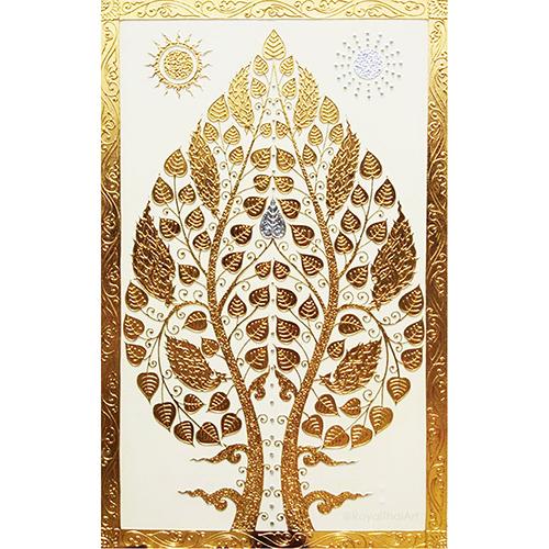 buddha enlightenment tree painting bodhi tree painting buddha tree painting bodhi tree art bodhi tree wall art thai art asian art gold leaf wall art